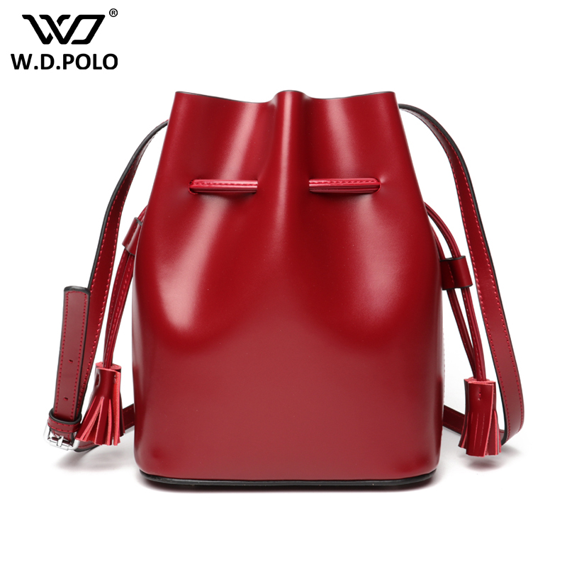 WDPOLO new genuine leather women soft bucket handbag chic lady cross body shoulder bag high quality female trend bag C402 2016 new fashion cross body bag genuine leather brand handbag soft shoulder bag designer chain high quality bag for women