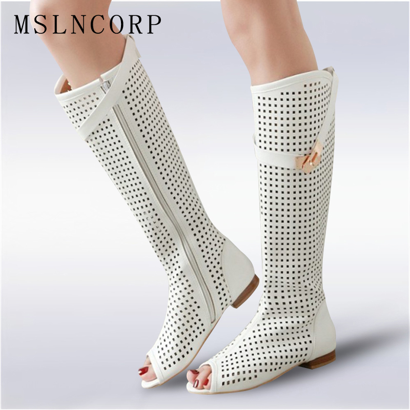 Size 34 47 High Quality Leather Women Flat Heels Buckle Gladiator Long Boots Open The Toe