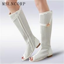 купить Size 34-47 High Quality Leather Women Flat Heels Buckle Gladiator Long Boots Open The Toe Knee High Lady Summer Sandals Boots по цене 2309.86 рублей