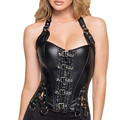 Sexy Women Body Shapewear PU Leather Waist Cincher Corsets+G-string Palace Girly Bustiers Costume Lingerie 2 Colors