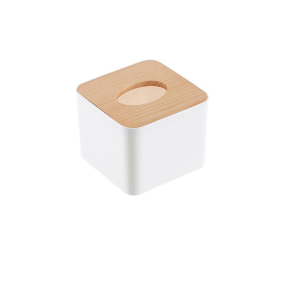 Новинка, деревянная крышка, автомобильная пластиковая коробка для салфеток, держатель, кухонная коробка для хранения, офисная, домашняя, органайзер, Настольная коробка для салфеток с телефонной полкой - Цвет: Square