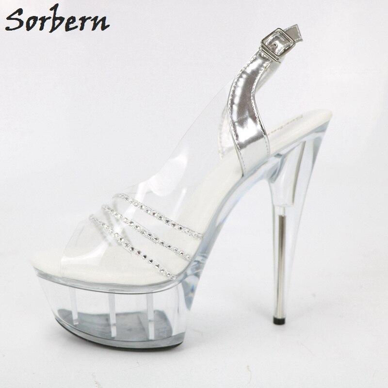 Chaussures Pvc Clair Plexiglas Sandale Cristaux Escarpins Femmes Plate Sorbern À D'été Sandales Voir Talons Haute Travers forme BqSwOt