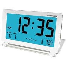 Дорожный будильник, ЖК-Мини цифровой Настольный складной электронный будильник, часы с синей подсветкой, повтор, календарь