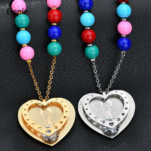 Eleple Religion Virgin Mary Double Heart Brilliant Zircon Inlaid Ladies Necklace Wedding Engagement Gifts Jewelry S-N666
