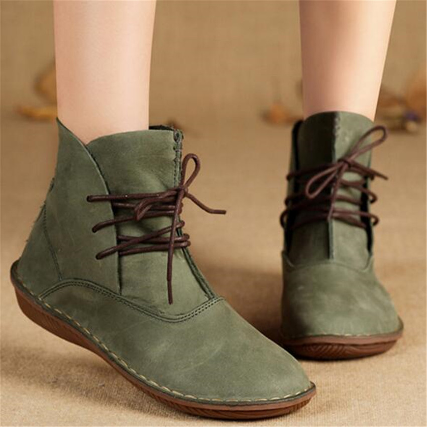 Women winter shoes handmade Genuine leather boots and retro women's singles round head flat with Sen female boots phil collins singles 4 lp