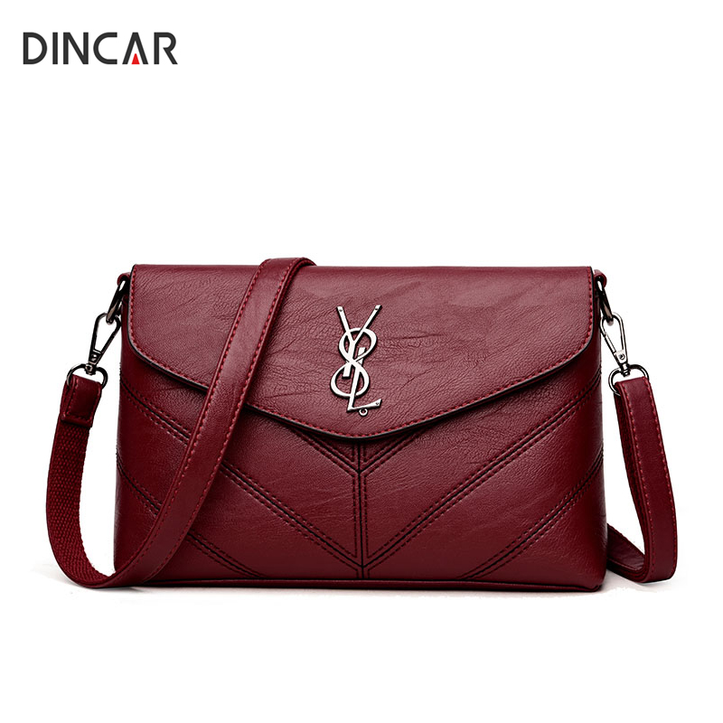 DINCAR Luxury Handbags Women Bags Designer Soft Pu Leather Shoulder Bag Small Flap Ladie ...