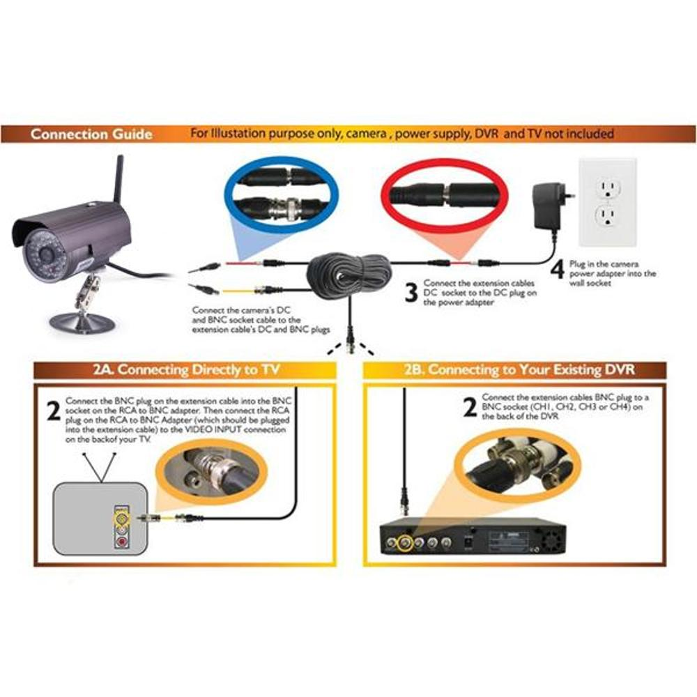 100ft 30m BNC Video DC Power Cable