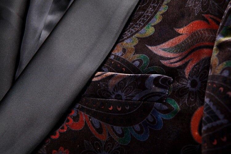 lapela impressão de veludo blazer fino ajuste