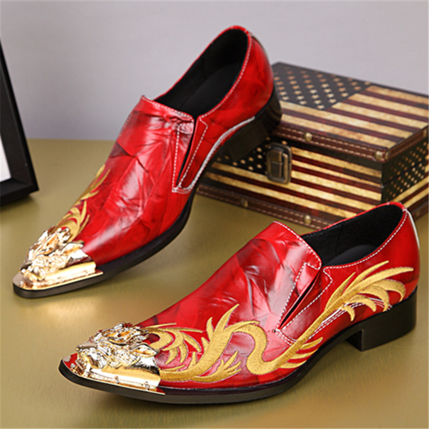 2017 Red Wedding Dress Shoes Men Oxfords Fashion Gold Dragon Embroidery Zapatos Hombre Genuine Leather Mens Dress Shoes Flats