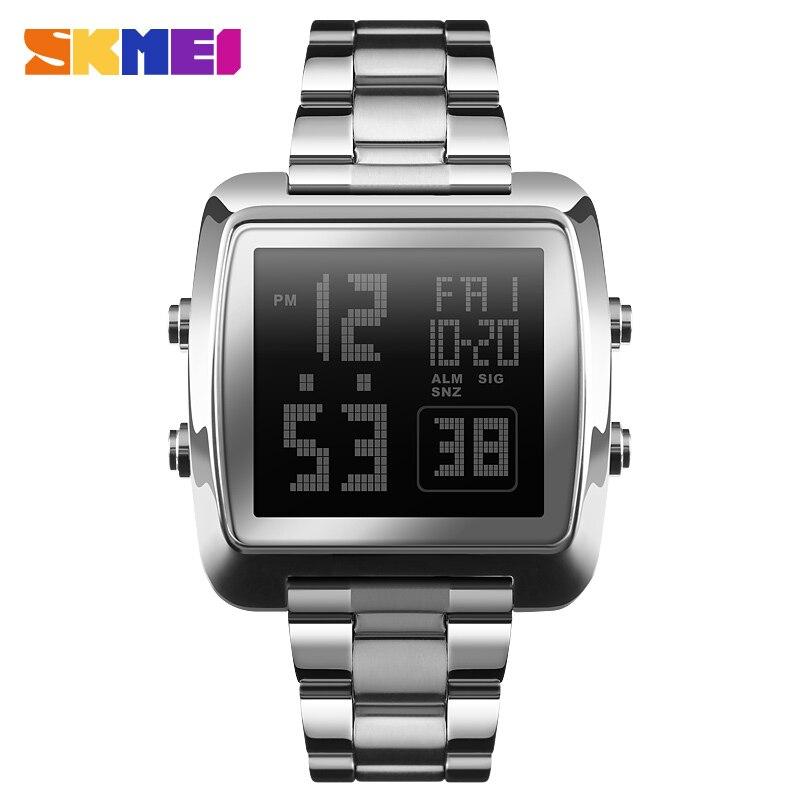 SKMEI Full Steel Mens Watches Top Brand Luxury Military Sports Watches Clock Waterproof LED Digital Watch Men Relogio Masculino