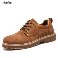 Yomior Fashion Casual Shoes Men Outdoor Winter Lace-up Classic Military Leather Shoes Hand-made High Quality Loafers Warm Shoe