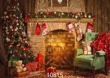 Decorações Presentes Da Árvore de Vinil sala de Lareira Fogo Vela Vermelha do vintage pano de Alta qualidade Computer print Fundo do natal