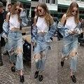 2016 das mulheres do vintage jeans rasgado buracos denim calças calças vaqueros mujer irregular calças de flare calça jeans feminina