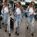 Vintage 2016 Womens Ripped Jeans Holes Denim Pants Trousers vaqueros mujer Irregular Flare Pants Jeans feminina