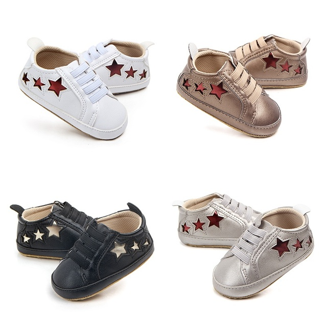 1 Pair Baby Boys Born Doll Accessories Fashion Five-pointed Star Leather Casual Doll Shoes First Walker 4 Colors 0-12M