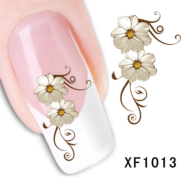 flower design Water Transfer Nails Art Sticker decals lady women manicure tools Nail Wraps Decals wholesale XF1013 dkny ny4559