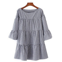 2017 Fashion Women Summer Elegant Checkered Flare Sleeve Loose Casual Sweet Dresses Vestidos Oversized Pleated Plaid