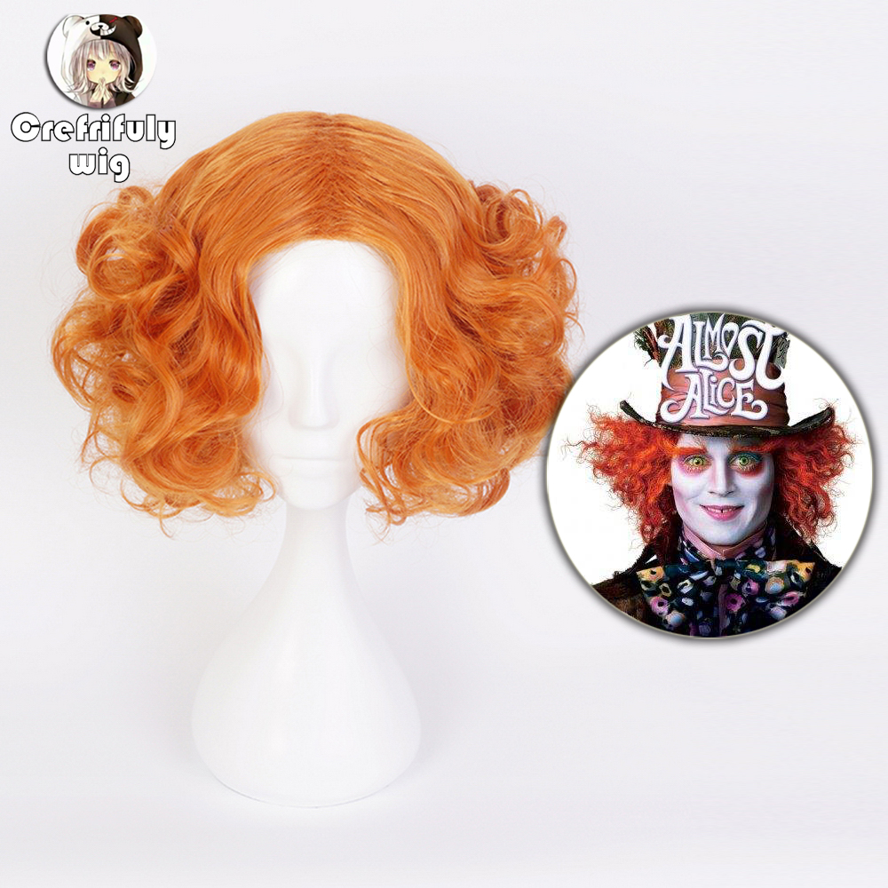 Alice In Wonderland 2 Mad Hatter Tarrant Hightopp Orange Cosplay Wig Short Curly Synthetic Hair Role Play Halloween Costume Wigs