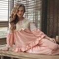 Nueva Llegada 2017 Niña Ropa de Dormir de Encaje Decoración Femenina Primavera Pijamas Pijamas Engrosamiento Conjunto Salón Informal