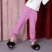 Girls 'bamboo cotton trousers Autumn new children's lantern trousers pure color corset casual pants