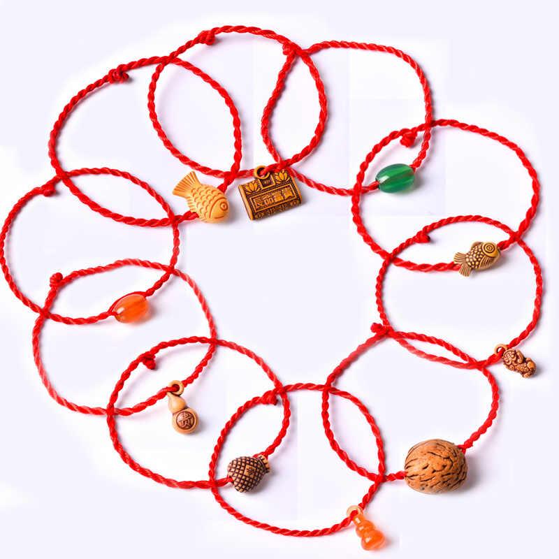 2019 ใหม่ Charm สร้อยข้อมือเชือกสีแดง Blessing Mascot จี้สร้อยข้อมือล็อคปลาทหารกล้าหาญโชคดี 10 สไตล์สำหรับคนรักเด็ก