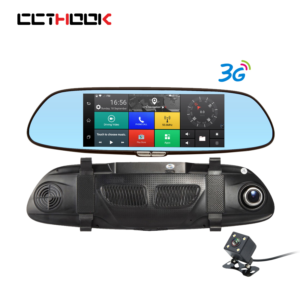 CCTHOOK 3G Dash Cam 7 Android 5.0 Dual Lens Night Vision Rearview Mirror Cam Car Camera DVR Registrator GPS Parking Monitor