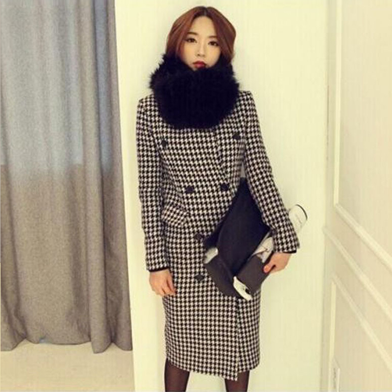 new arrival high quality women fashion comfortable thick warm   trench   coat temperament plaid fur collar outdoor long   trench