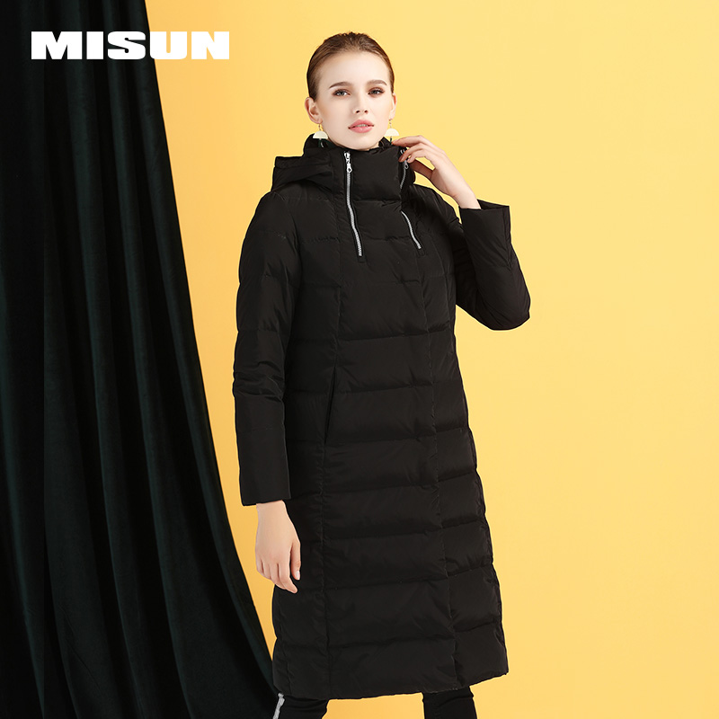 Nouvelle mince vers le bas veste femme longue section chaud épais long manteau super long blanc duvet de canard 250-309g MSD-P7074