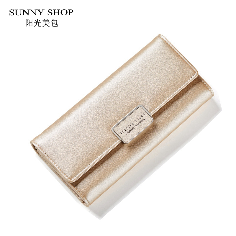 SUNNY SHOP Korean Clasp Womens Wallets And Purses Long Thin Slim PU Leather Wallet Multi-Function Candy Color Clutch Gold Pink
