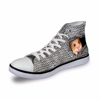 Noisydesigns ladies vintage high top sneakers girls casual vulcanized footwear Women little animals 3D print flat canvas shoes