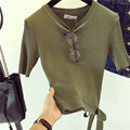 Spring Summer Design Korea Knitting Short Sleeve Skirt V-Neck Knitted Women T-Shirts