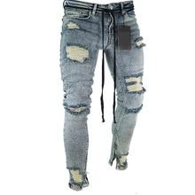 Длинные узкие брюки, рваные джинсы, тонкие весенние джинсы с дырками, мужские модные тонкие обтягивающие джинсы для мужчин, брюки в стиле хип-хоп, одежда