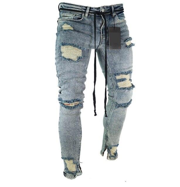 Длинные узкие брюки рваные джинсы Тонкий Весна отверстие 2018 для мужчин модные тонкие обтягивающие джинсы для брюки в стиле хип-хоп одежда