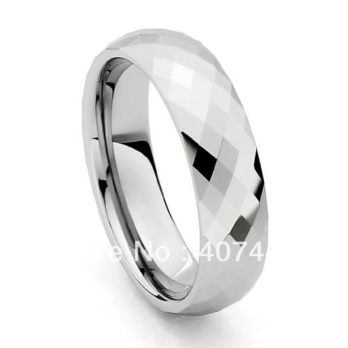 Free Shipping Cheap Price USA Brazil Russia Hot Sales 6mm Spark Faceted Cobalt Free Tungsten Carbide Ring New Mens Wedding Band