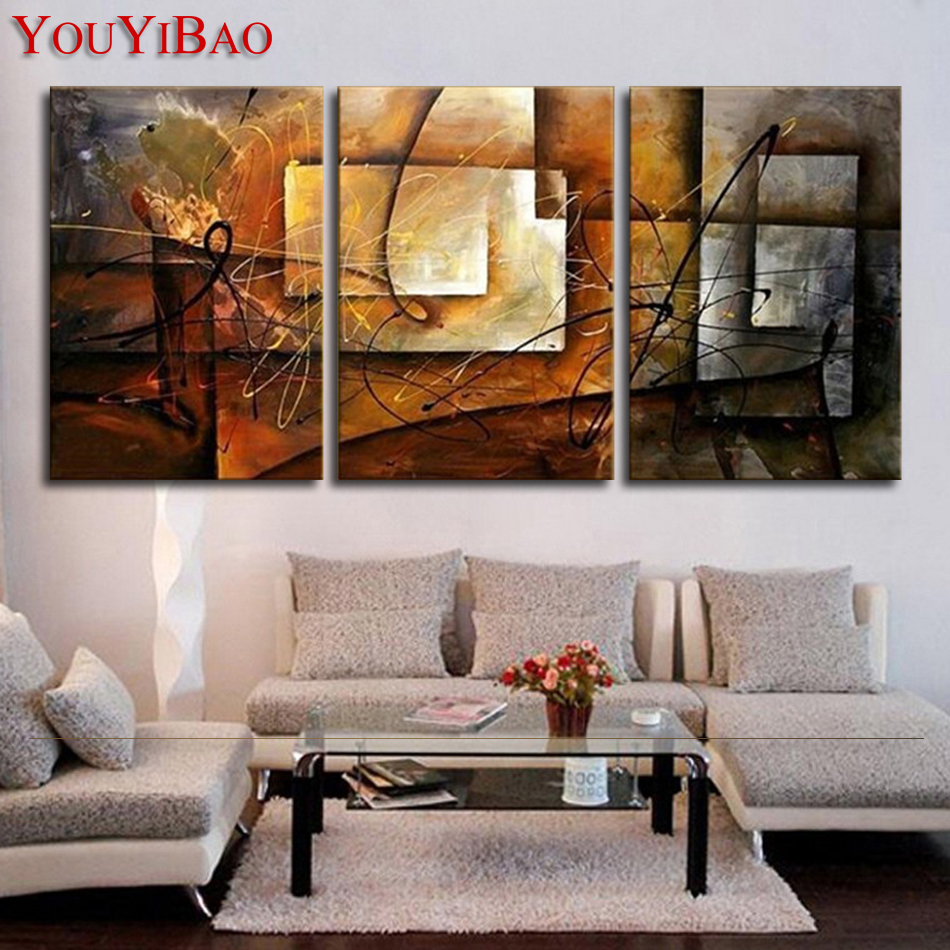 Hand Painted Modern Abstract Oil Painting Wall Art Canvas Set 3 Panel  Realistic Home Decoration Picture - Compare Prices On Canvas Wall Art Sets- Online Shopping/Buy Low