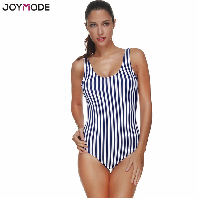 de634cb6d3 JOYMODE Athletic One Piece Swimsuits Swimsuit For Women Padded Push Up Backless  Bathing Suit Blue Striped Swimming Bodysuit