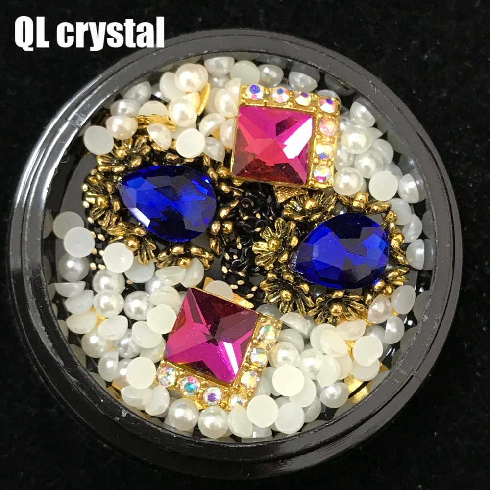 QL Crystal 1 Box Rhinestones For Sexy fashion Nails 3D Crystal Stones For Nail Art Decorations Diy Design Manicure Diamonds
