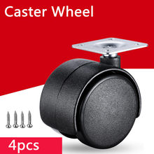4pcs Dia. 2 inches /50mm Wholesale Black Color Plastic Wheel with Metal Top Plate Swivel Ball Bearing Casters(China)