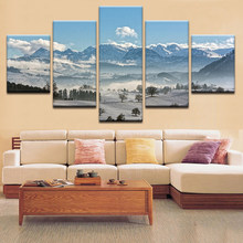 Poster Wall Art Painting Tree Canvas Children'S Room Decoration Snow Mountain HD Printed Pictures Modular Frame Drop Shipping(China)