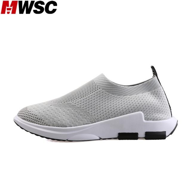 c2fae65baea2 MWSC 2017 Autumn New Fashion Breathable Casual Shoes Male Slip On Mesh  Stretchable Fabric Leisure Shoes