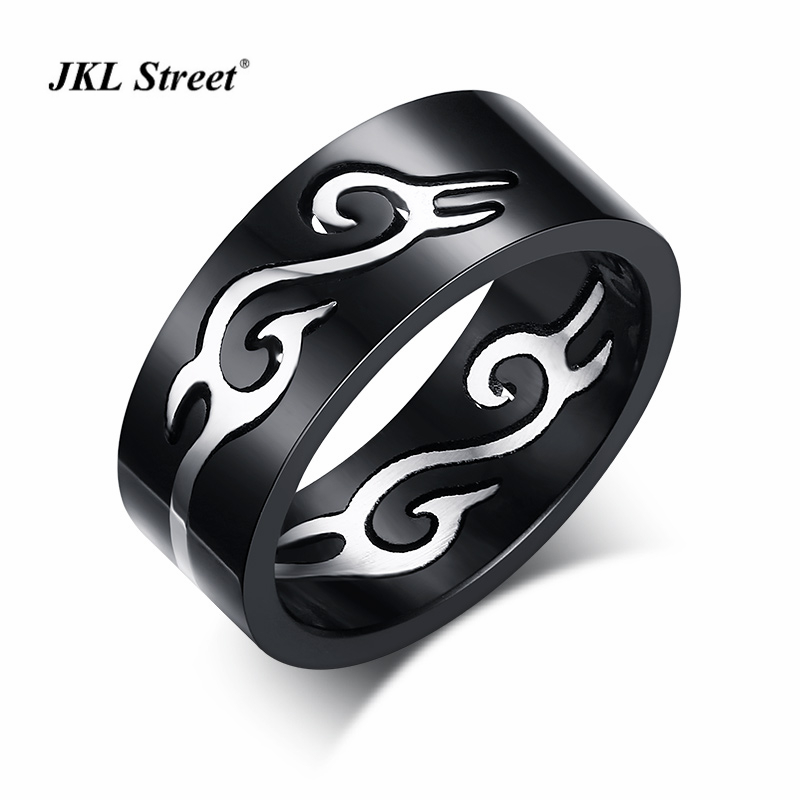 7.5MM Stainless Steel High Polished Men Rings Black Plated Splittable Flame Pattern Men Rings SIZE 7~12 SF-124
