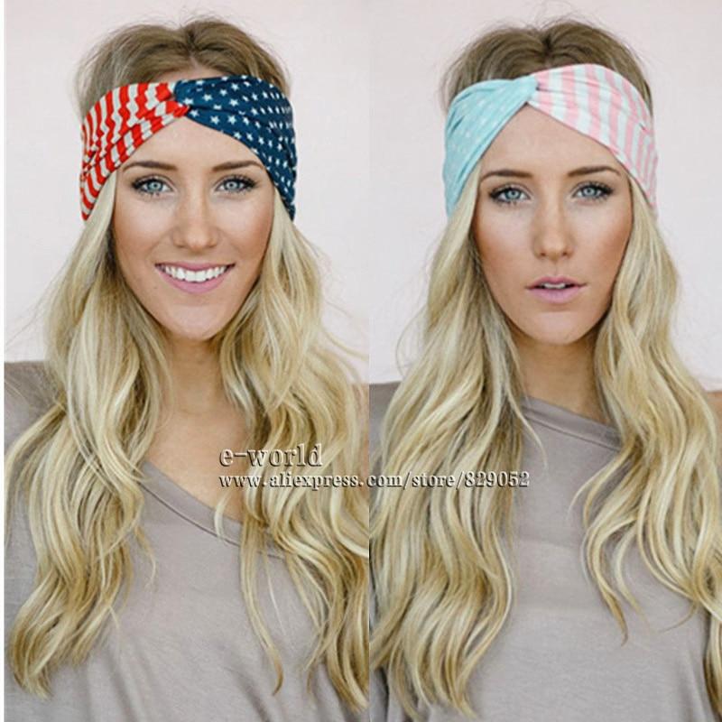 American Flag Cotton Turban Headbands for Women USA Star Stripes Bow  Headband Hairbands Bandana Headwrap Girls Hair Accessories 4875176e44