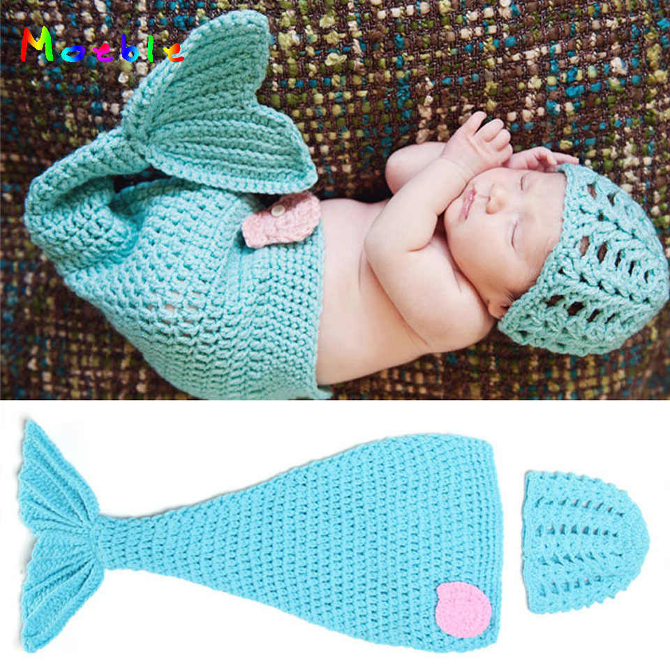 Crochet Blue Mermaid Tail Photography Props Knitted Newborn Girls Mermaid Costume Crochet Baby Hat Cocoon Set MZS-14025
