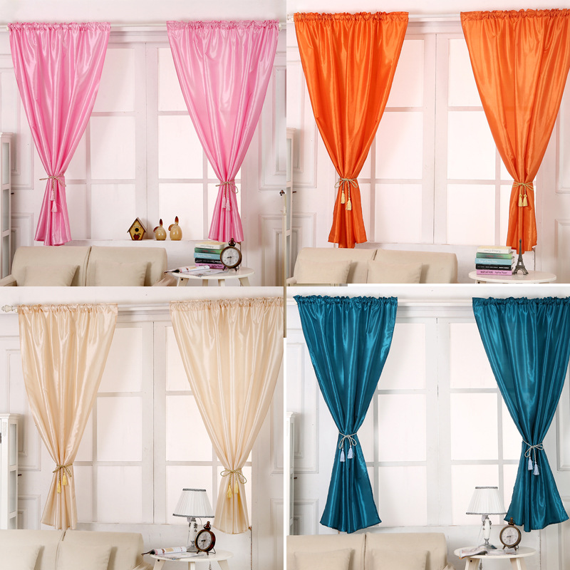Buy Solid Window Blinds Cloth Short Curtains Blackout For Cafe Hotel Bedroom