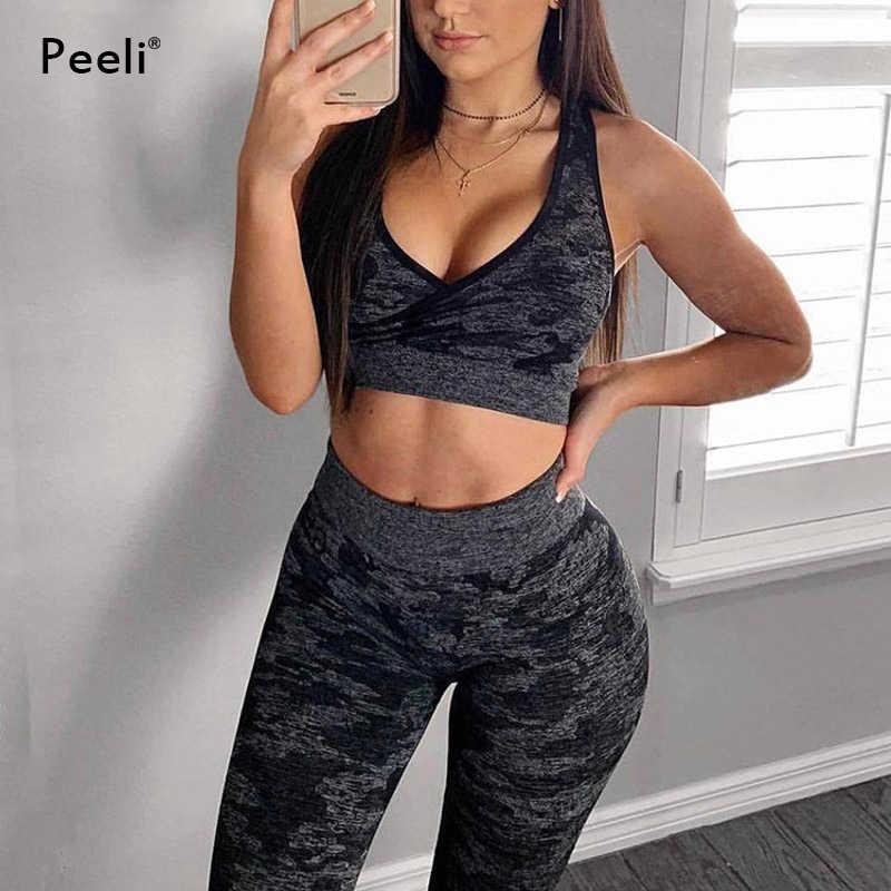 Peeli спортивный костюм спортивный комплект камуфляжные бесшовные леггинсы спортивный бюстгальтер комплект из 2 предметов для йоги одежда для фитнеса женская спортивная одежда спортивный костюм
