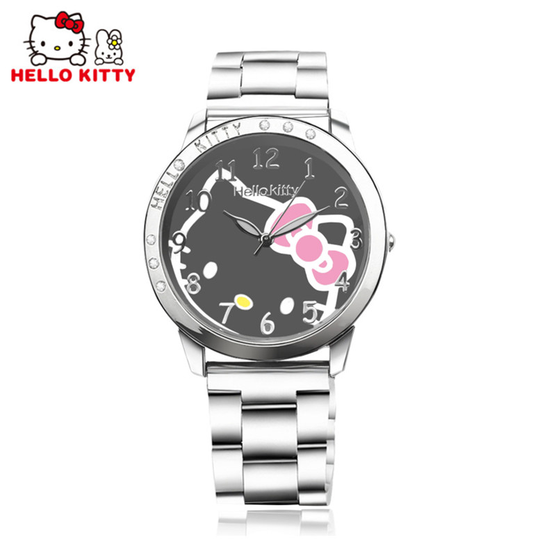 Fashion Hello Kitty Watch Women Watches Stainless Steel Cartoon Women's Watches For Girls Watch Clock kol saati reloj mujer