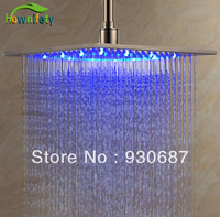 Contemporary 12 inch Brushed Nickel Brass Shower Head With Color Changing LED Light