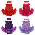Newborn baby girl dress/bebes mono de algodón chaleco sin mangas sólido romper tutu dress + venda de la flor infantil de la ropa 2 unids/set