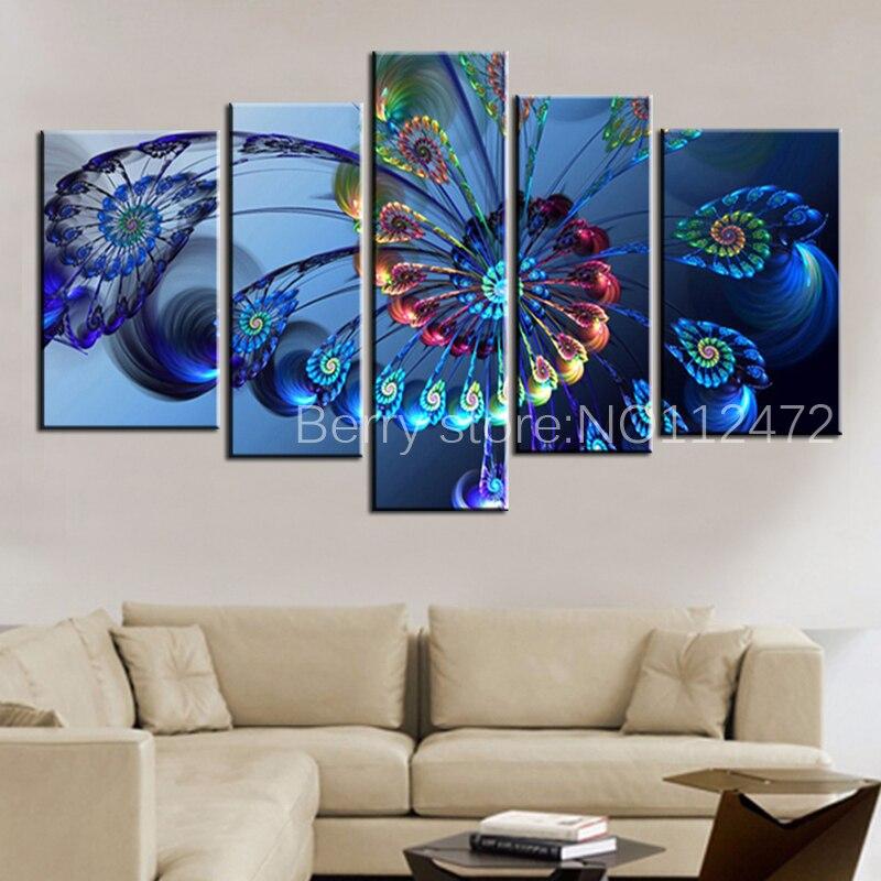 Diy 5 teile/satz Moderne 5d diamant Malerei Leinwand Landschaft Abstrakte  Kunst Blau Pfau Wand Kunst Bild für stickerei Home Decor