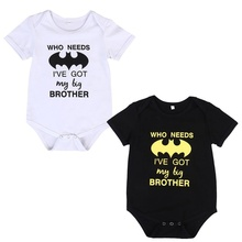 DERMSPE Casual Newborn Baby Boy Girl Short Sleeve Letter Print Who Needs Ive Got My Big Brothers Romper Clothes